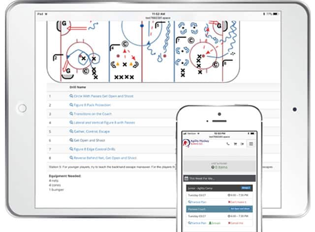 Agility Hockey Systems Software on screen and mobile devices